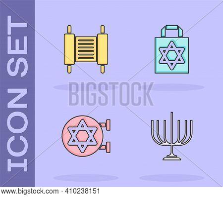 Set Hanukkah Menorah, Torah Scroll, Jewish Synagogue And Shopping Bag With Star Of David Icon. Vecto