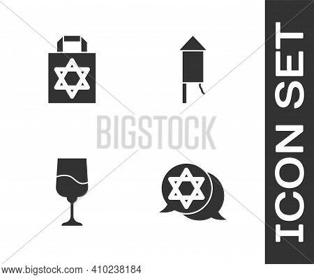 Set Star Of David, Shopping Bag With Star David, Jewish Goblet And Firework Rocket Icon. Vector