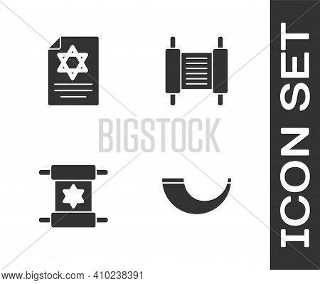 Set Traditional Ram Horn, Shofar, Torah Scroll, And Icon. Vector