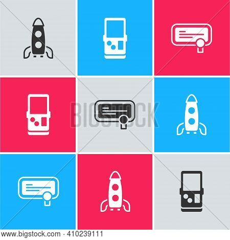 Set Rocket Ship, Tetris And Certificate Template Icon. Vector
