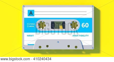Retro Audio Cassette Tape With Blue Label On Yellow Color Background. 3D Illustration