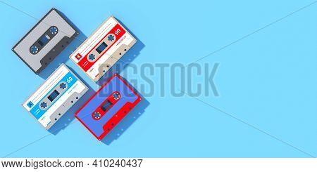 Vintage Audio Cassette Tapes Collection On Blue Background, Retro Music. 3D Illustration