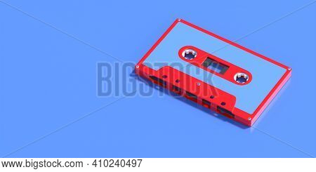Vintage Audio Cassette Tape Isolated On Blue Background, Copy Space. Retro Music. 3D Illustration
