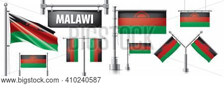 Vector Set Of The National Flag Of Malawi In Various Creative Designs
