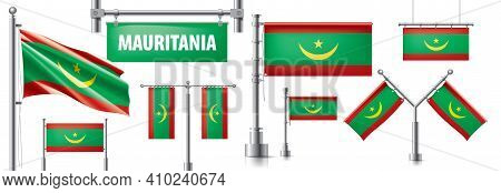 Vector Set Of The National Flag Of Mauritania In Various Creative Designs