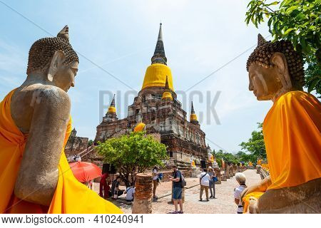 Ayutthaya, Thailand - May 18, 2019: Wat Yai Chaimongkon, The Ancient Buddhist Temple Including Ancie