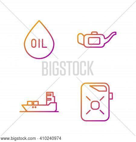 Set Line Canister For Motor Oil, Oil Tanker Ship, Oil Drop And Canister For Motor Oil. Gradient Colo