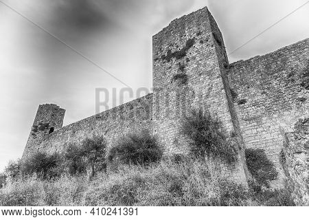 Medieval Fortified City Walls Of The Scenic Town Of Monteriggioni, Tuscany, Italy