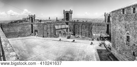 Interior Panoramic View Of A Medieval Italian Fortress, Iconic Landmark And One Of The Most Visited