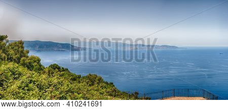 Panoramic Aerial View Of The Strait Of Messina, Between The Eastern Tip Of Sicily And The Western Ti