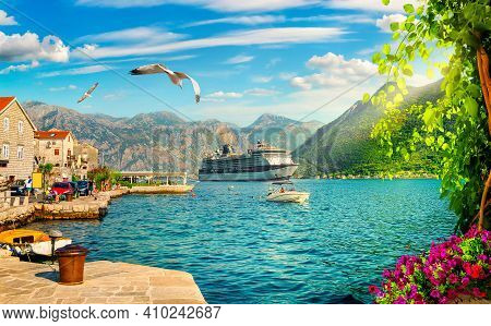 Ship In The Bay Of Kotor, Montenegro