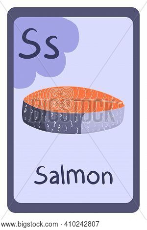 Colorful Abc Education Flash Card, Letter S - Salmon Fish. Alphabet Vector Illustration With Food, F