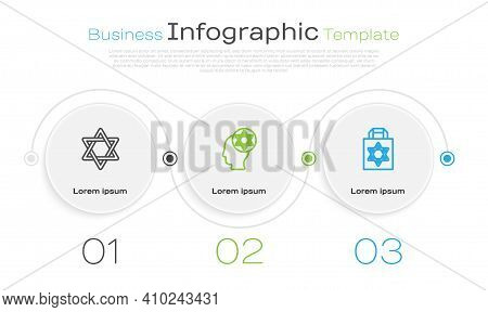 Set Line Star Of David, Orthodox Jewish Hat And Shopping Bag With Star David. Business Infographic T
