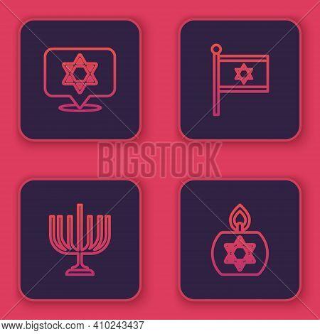 Set Line Star Of David, Hanukkah Menorah, Flag Israel And Burning Candle. Blue Square Button. Vector