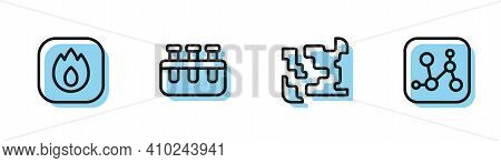 Set Line Gaseous, Fire Flame, Test Tube And Flask And Chemical Formula Icon. Vector