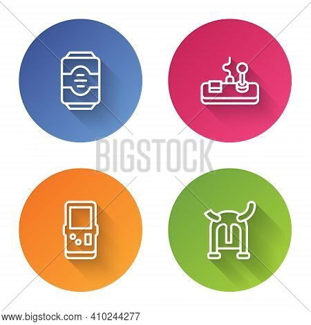 Set Line Energy Drink, Gamepad, Tetris And Viking Horned Helmet. Color Circle Button. Vector
