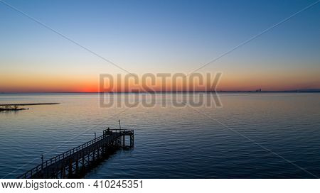Pier Kn Mobile Bay At Sunset From Daphne, Alabama In February Of 2021