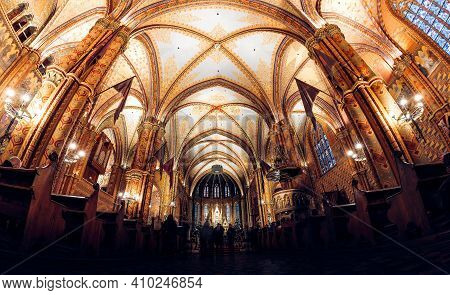 Budapest, Hungary - October 28, 2019: Interior Of Matthias Church In Buda's Castle District Of Budap