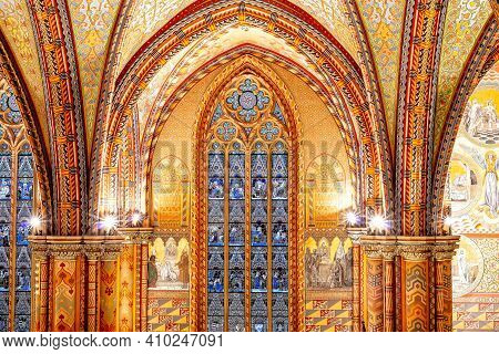 Budapest, Hungary - October 28, 2019: Stained Glass Window Of The Church Of The Assumption Of The Bu