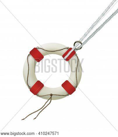Lifebuoy Isolated On White Background. Life Insurance. Humor Illustration