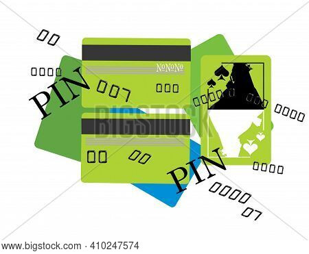 Bank Credit Cards And Pin Codes. Mystery And Piracy. Queen Of Spades Card. Humor Illustration