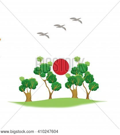 Savannah With Green Baobabs And Migratory Birds. Red Sun Of The Desert. Humor Illustration