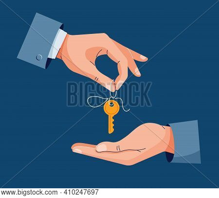 Home Purchase Deal Vector Illustration. Male Hand Giving House Keys For Property Buying. Deal Sale,