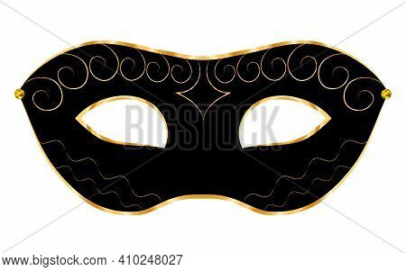 Black Venetian Mask With Gold Decorations, On White Isolated Background.