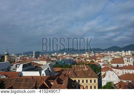 Cityscape Of Graz From Shlossberg Hill, Graz, Styria Region, Austria.