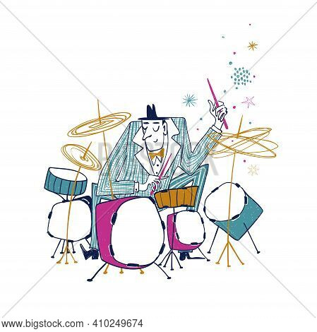 Illustration With Funny Isolated Drummer In Suit. Jazz Musician Character Drawing.