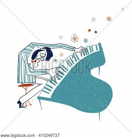 Illustration With Funny Isolated Piano Player In Suit. Jazz Musician Character Drawing.