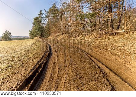 Muddy Path By The Forest. Muddy Terrain. Country Road In The Czech Republic. Spring Morning In The C