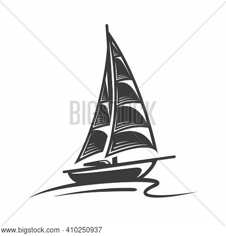 Sailing Yacht On The Wave Isolated On White Background. Design Element. Silhouette Of A Sailing Yach