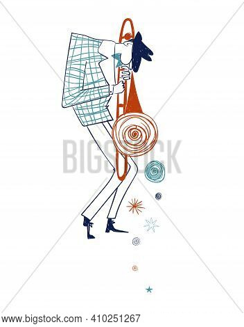 Illustration With Isolated Trombone Player. Funny Jazz Musician Character Drawing.