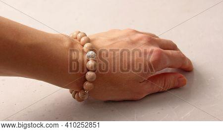 Sun Stone Bracelet. Bracelet Made Of Stones On Hand From Natural Stone Sun Stone. Bracelet Made Of N