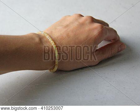 Fire Opal Bracelet. Bracelet Made Of Stones On Hand From Natural Stone Fire Opal. Bracelet Made Of N