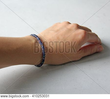 Black Fire Opal Bracelet. Bracelet Made Of Stones On Hand From Natural Stone Black Fire Opal. Bracel