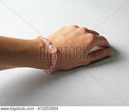 Rose Quartz Bracelet. Bracelet Made Of Stones On Hand From Natural Stone Rose Quartz. Bracelet Made
