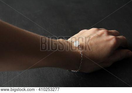 Moonstone Bracelet. Bracelet Made Of Stones On Hand From Natural Stone Moonstone. Bracelet Made Of N