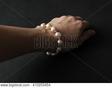 Kasumi Pearls Bracelet. Bracelet Made Of Stones On Hand From Natural Stone Kasumi Pearls. Bracelet M