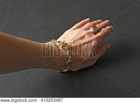 Citrine Bracelet And Ring. Bracelet Made Of Stones On Hand From Natural Stone Citrine. Bracelet Made