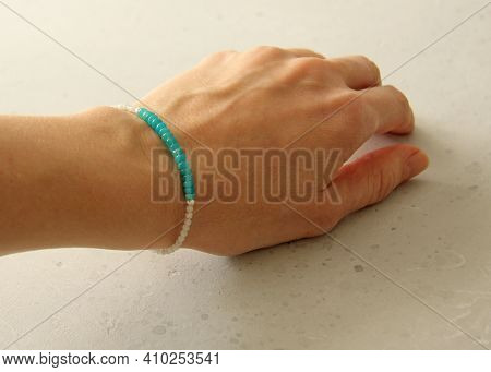 Blue Turquoise Opal, Moonstone Bracelet. Bracelet Made Stones On Hand From Natural Stone Blue Opal .