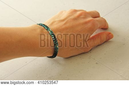 Chrysocolla Bracelet. Bracelet Made Of Stones On Hand From Natural Stone Chrysocolla. Bracelet Made