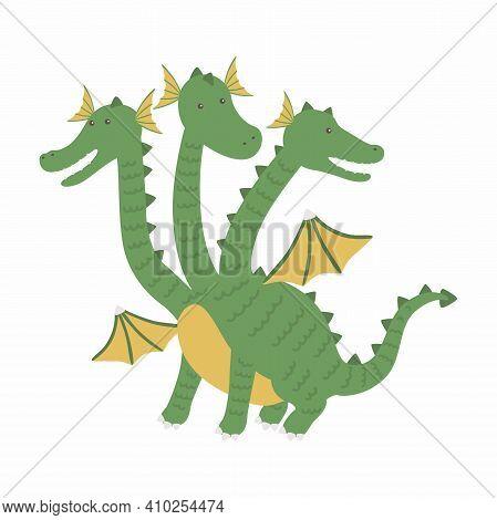 Three Headed Dragon Ancient Mythical Creature Cartoon Vector Illustration