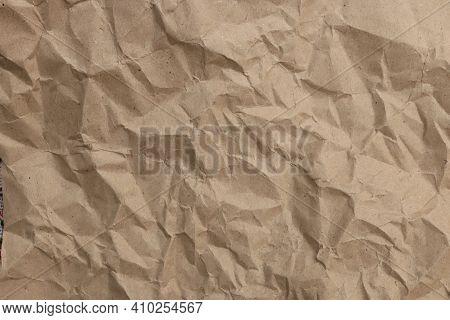 Crumpled Paper Texture. Battered Cardboard Filling Background.