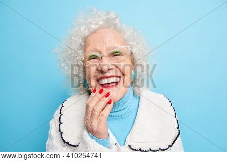 People Old Age Positive Emotions Concept. Happy Grey Haired Lady Smiles Broady Has White Even Teeth