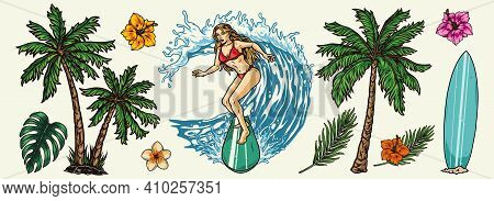 Surfing Vintage Colorful Composition With Pretty Woman Riding Wave Surfboard Palm Trees Exotic Flowe