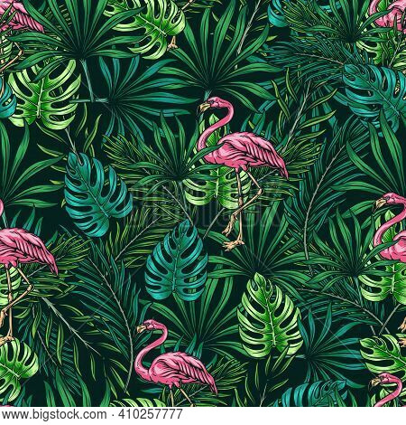 Tropical Colorful Vintage Seamless Pattern With Pink Flamingo Green Monstera And Palm Leaves Vector