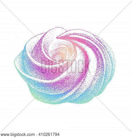 Airy French Meringue Multicolor, Marshmallow, Zephyr. Vector Illustration In Graphic Vintage Retro S