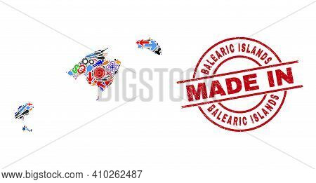 Industrial Balearic Islands Map Mosaic And Made In Scratched Rubber Stamp. Balearic Islands Map Coll